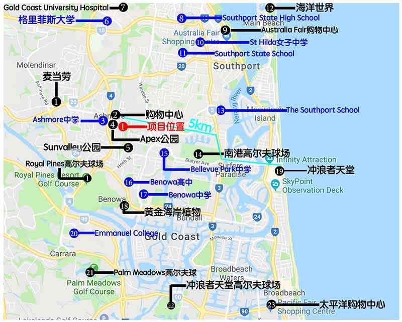 澳洲黄金海岸别墅_学区房_澳洲投资_Google位置图