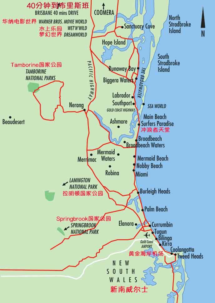 澳大利亚黄金海岸在哪个城市?黄金海岸地图