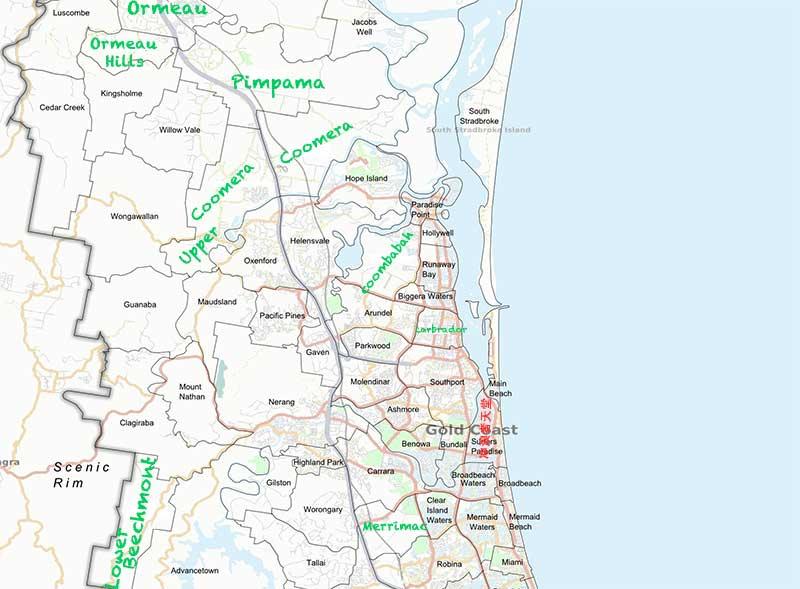 澳洲黄金海岸别墅250万能买到的区域_地图事宜。