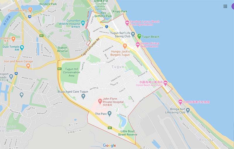 澳洲黄金海岸介绍-Tugun Google地图